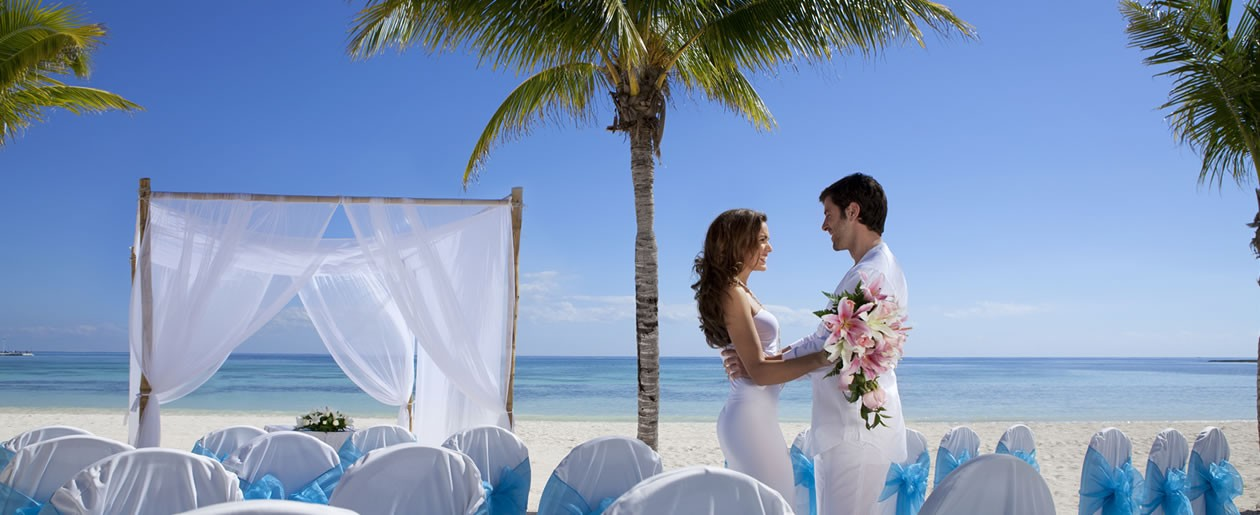 A wedding setup on the spectacular beach at the Barceló Maya Palace Deluxe.