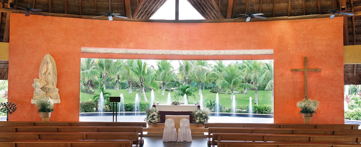 Get married in the resort Catholic chapel on a religious wedding at the Barceló Riviera Maya Resorts.