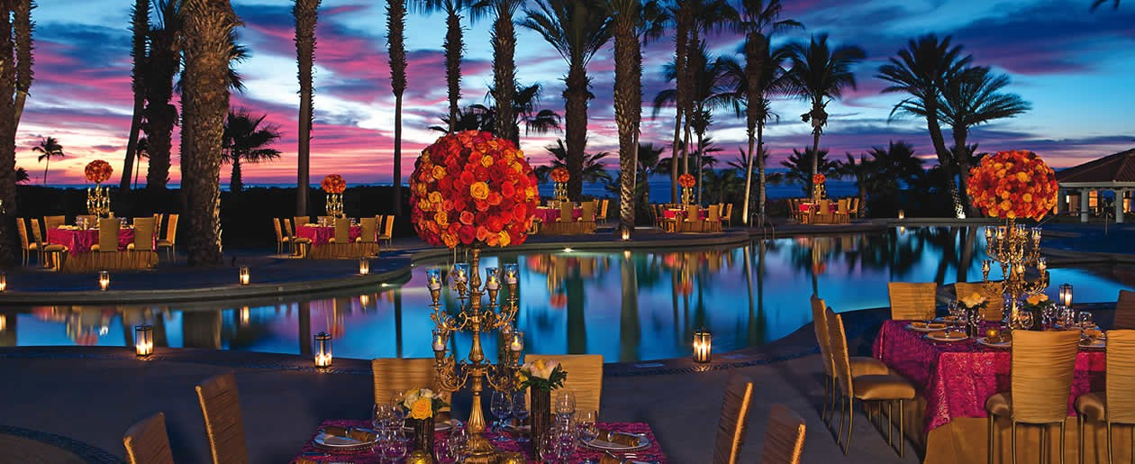 Gala dinner set up by the pool.