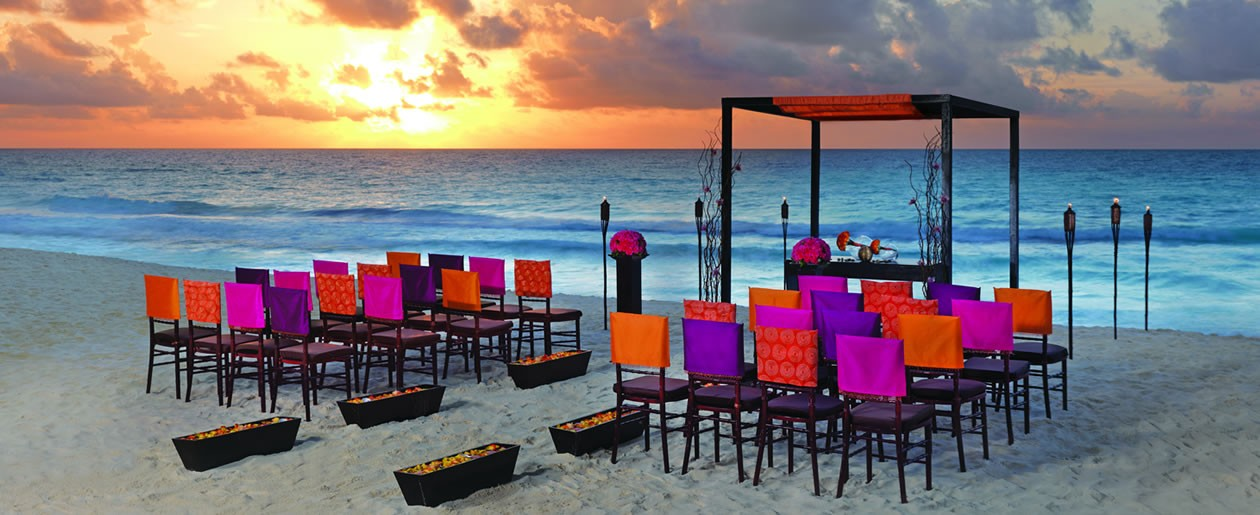 The sexy El Sol wedding collection by Colin Cowie at the all-inclusive Hard Rock Hotels.