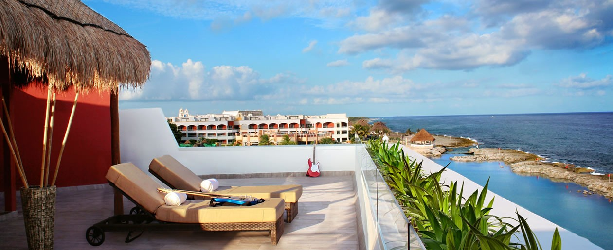 Riviera Maya Rock Suite Platinum Rooftop Lounge is the perfect place to relax and romance on your honeymoon.