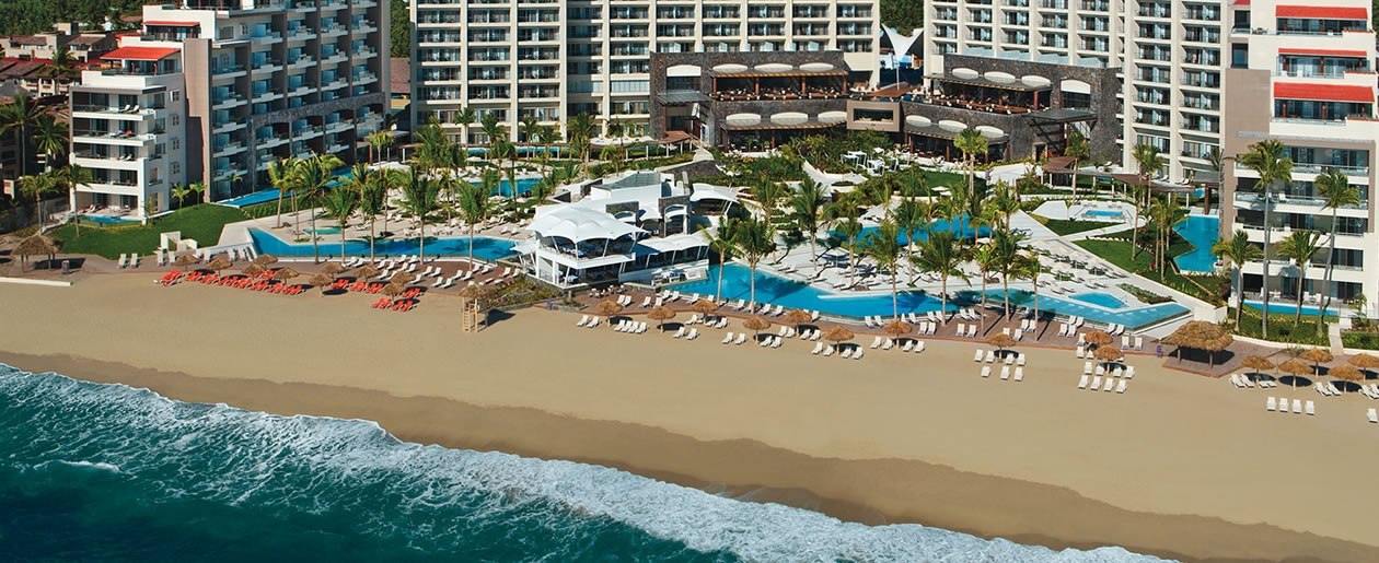 A Panoramic picture of Secrets Vallarta Bay and Now Amber resort.