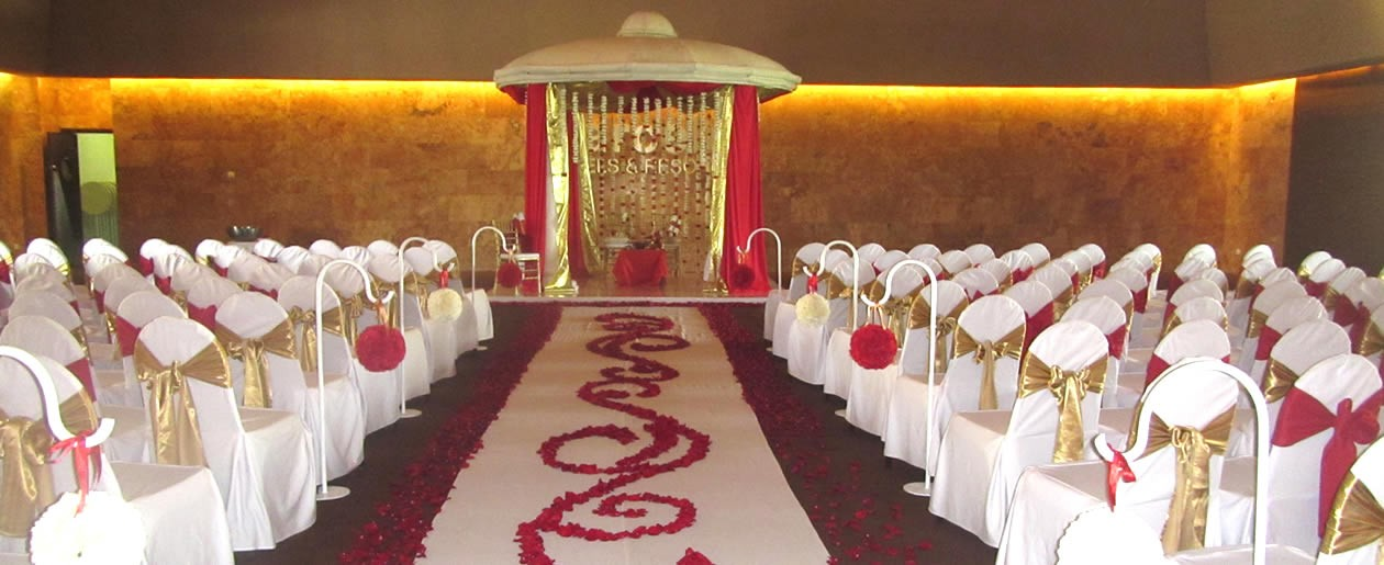 Traditional wedding banquet setup at the Barcelo Resorts.