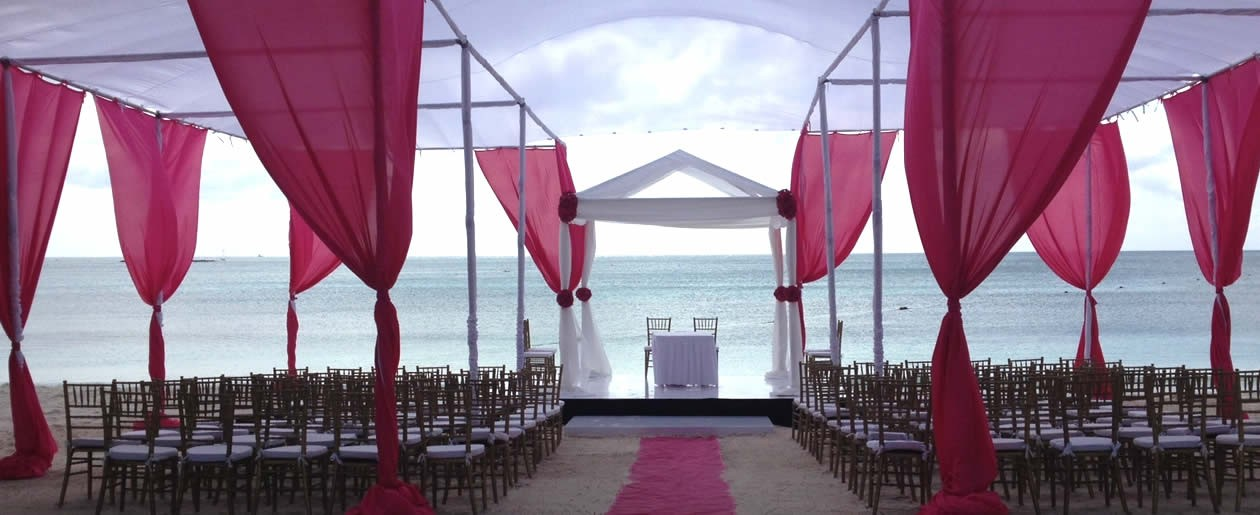 Beautiful designed Indian wedding setup on the beach for your marriage celebration.