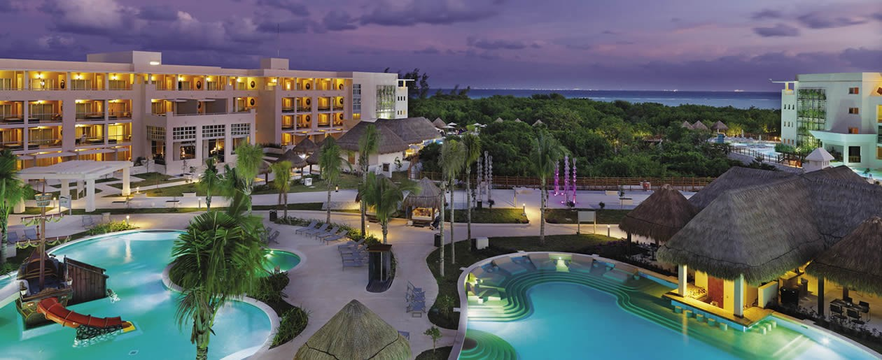 Stunning overview of Paradisus Playa del Carmen La Esmeralda free-form pools and grounds.